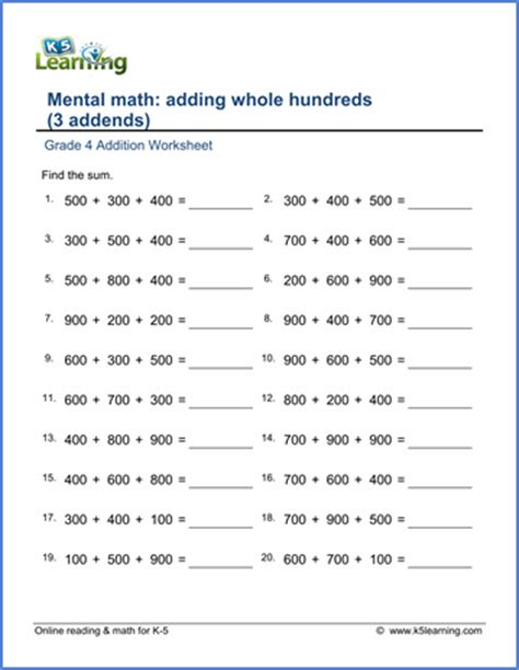 grade 4 addition worksheets adding whole hundreds 3