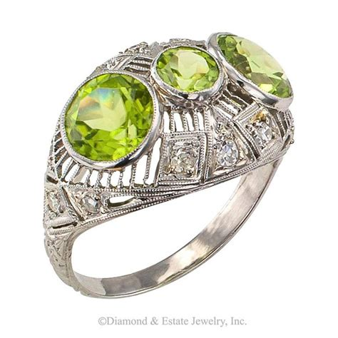 deco peridot platinum ring for sale at 1stdibs