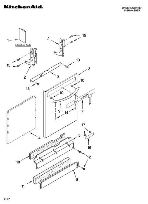 Kitchenaid Dishwasher Parts by Kitchenaid Dishwasher Door And Latch Parts Model