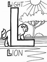Letter Coloring Lion Coloringsun Sun sketch template
