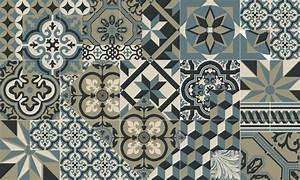 Tapis Vinyle Carreaux De Ciment Lon Bleu Ocan