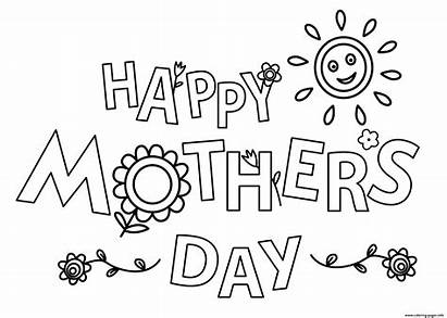 Coloring Flowers Mothers Sun Happy Pages Printable