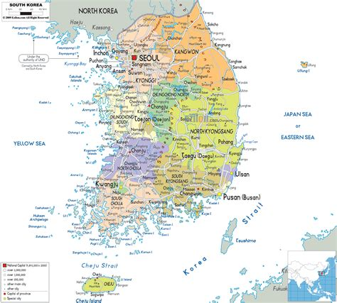 political map  south korea ezilon maps