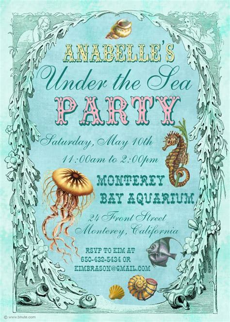 sea party invitations decorations art