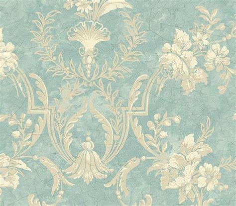 interior place baby blue floral damask wallpaper