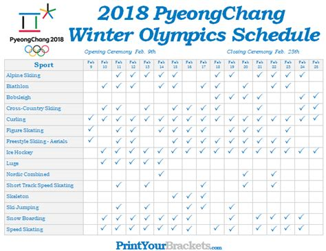 printable winter olympic schedule  pyeongchang games