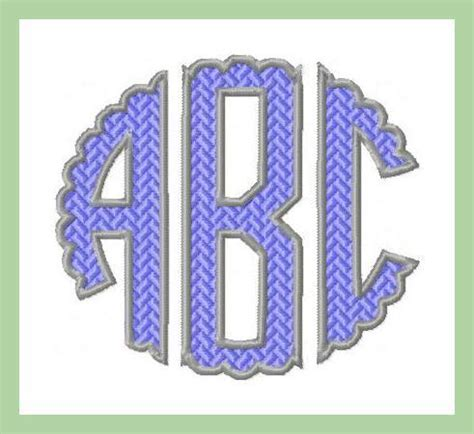 scalloped circle patterned  outlined monogram font bling sass sparkle