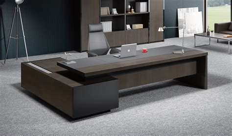 Contemporary Office Table In Leather & Wood Boss's Cabin