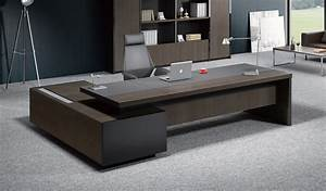 Contemporary office table in leather wood boss39s cabin for Office tables design