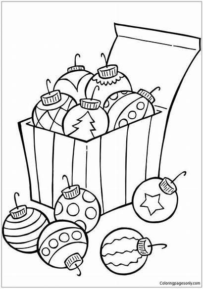 Coloring Christmas Pages Ornaments Printable Tree Ornament