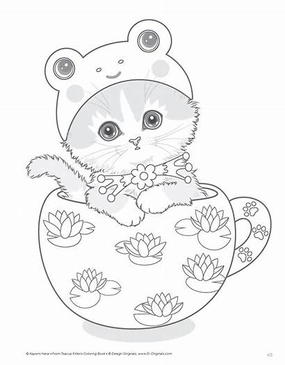 Coloring Pages Kittens Teacup Angel Cat Dolphin