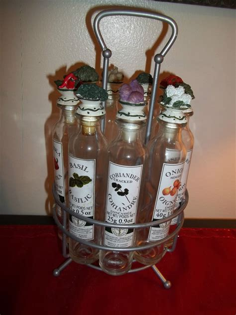 Spice Rack With Empty Jars by Vintage Vegetable Top Spice Rack Glass Bottles Metal