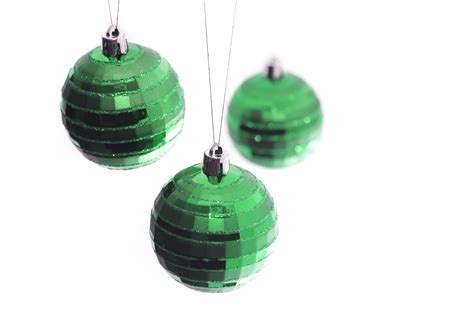photo of green hanging baubles free christmas images
