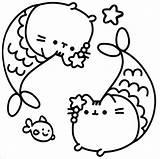 Pusheen Coloring Catfish sketch template