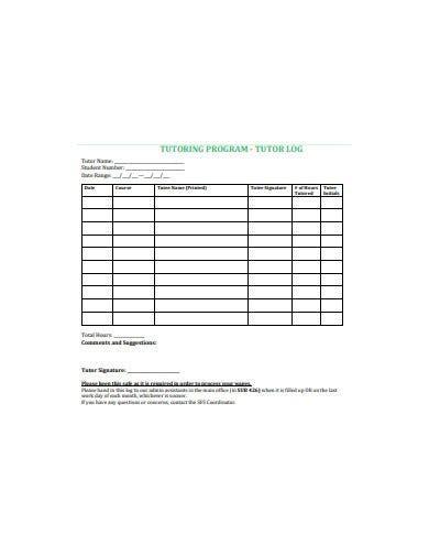 tutoring log sheet templates     premium templates