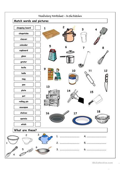 vocabulary matching worksheet   kitchen worksheet