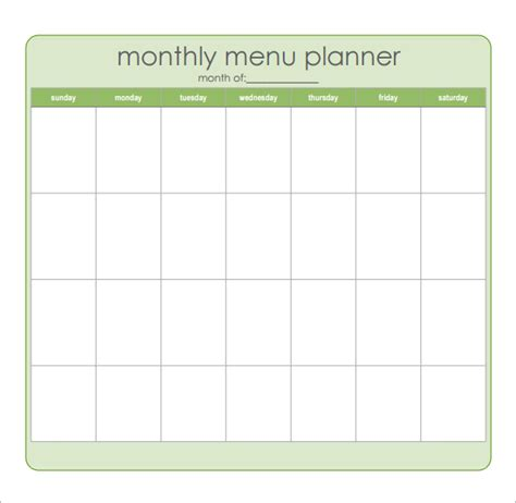 monthly meal planner template 8 best images of sample monthly menu planner printable