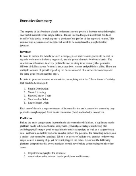 Resume Marketing Executive Summary by Sle Contract Summary Template Web Developer Free