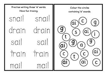 phonics worksheets x24 jolly phonics 4 ai j oa ee