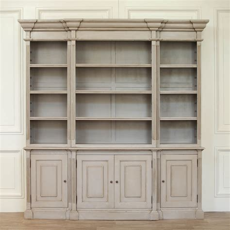 Dresser Bookcase by Ambroise Large Breakfront Distressed Painted Grey Dresser