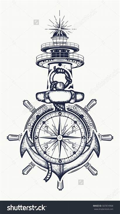 Tattoo Compass Lighthouse Anchor Wheel Steering Designs
