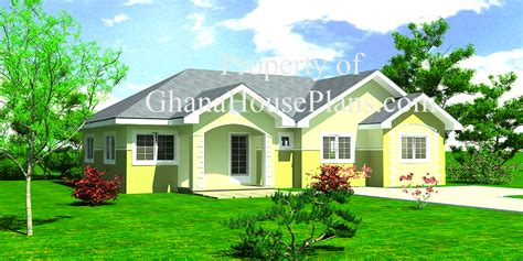 bedroom semi detached ghana house plan living dining rooms  laundry  storage