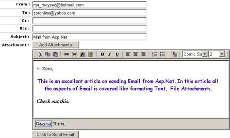 Format For Sending Email by Sending Email From Asp Net Using Formatted Text Editor And Attachments In Single Application