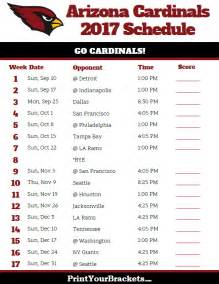 2017 Arizona Cardinals NFL Schedule Printable