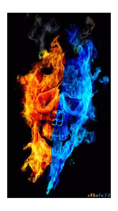 Skull Cool Fire Ice Tattoo Burning Gifs