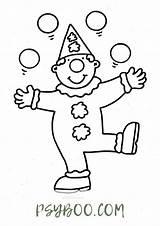 Juggling Clown Cartoon Coloring Simple sketch template