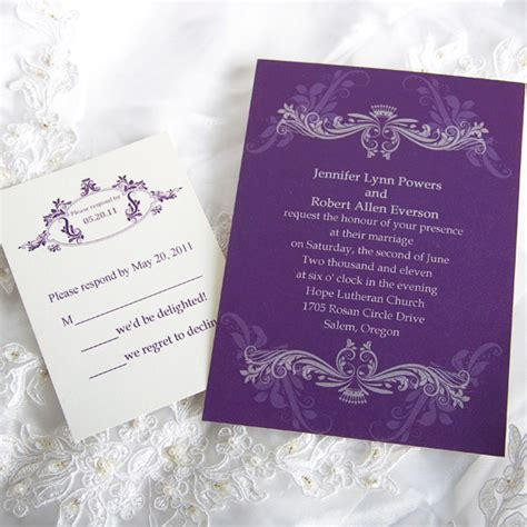 purple wedding invitations  wedding ideas