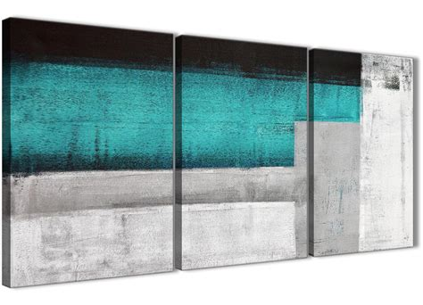 3 panel teal turquoise grey painting office canvas wall art decor abstract 3429 126cm set of
