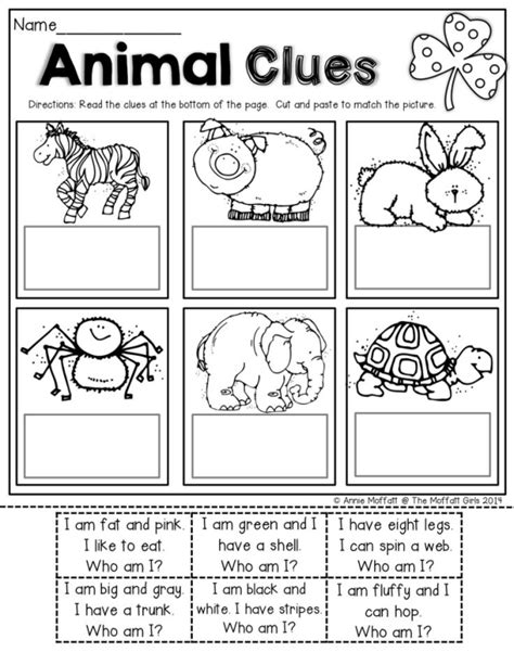 read simple sentence clues cut and paste to match the for beginning readers