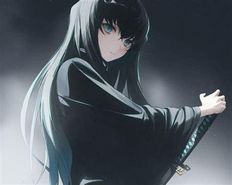 kimetsu  yaiba tokitou muichirou male black hair blue