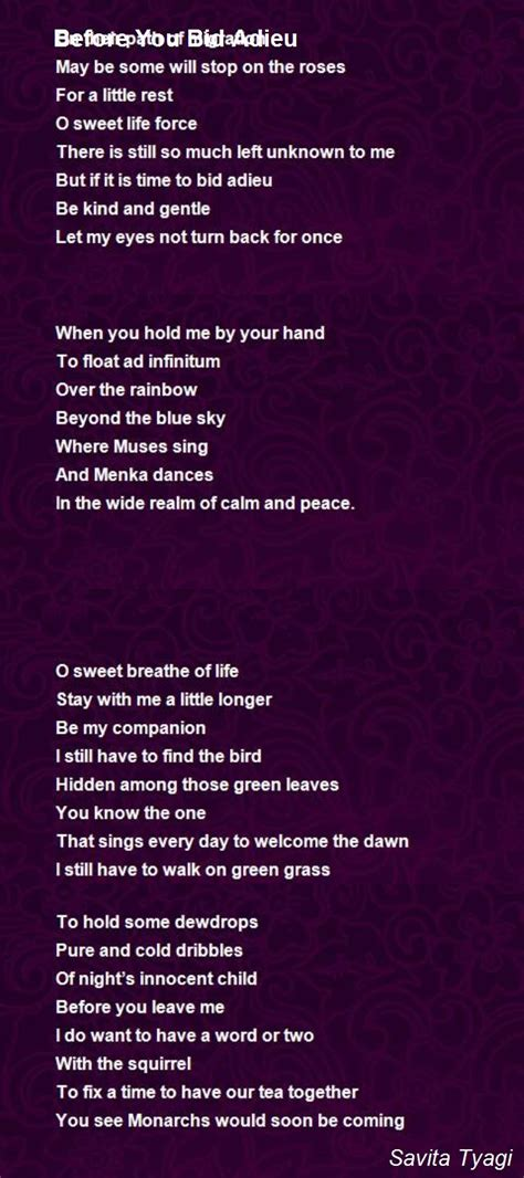 To Bid Adieu Before You Bid Adieu Poem By Savita Tyagi Poem