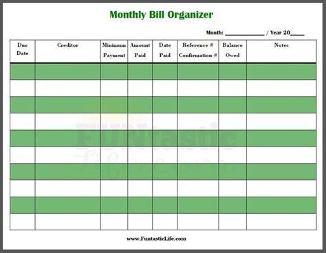 printable monthly bill organizer bill organization