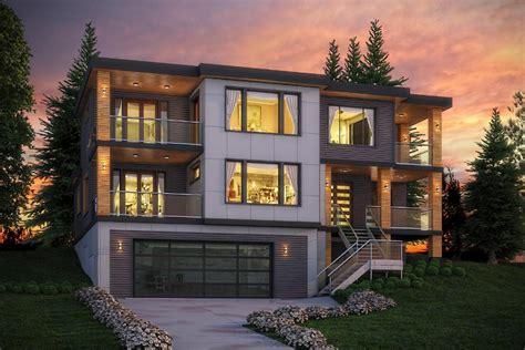 plan    story reverse daylight basement uphill slope etsy modern lake house modern