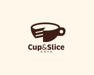 Coffee shop logo modern, cafe barista logo, food truck logo, event venue logo, florist logo, flower shop logo, bohemian logo. Cup & Slice