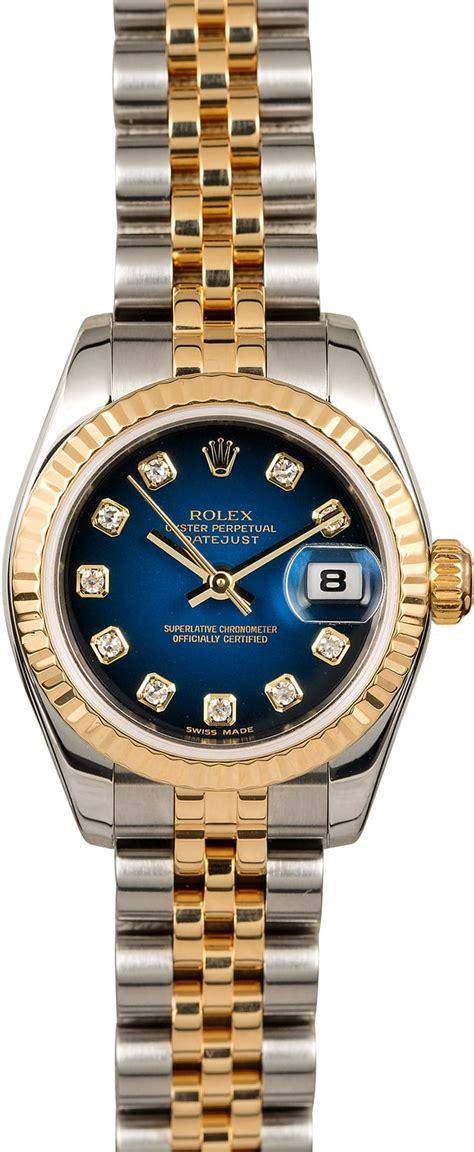 Rolex Lady Datejust 179173 Blue Vignette Diamond Dial