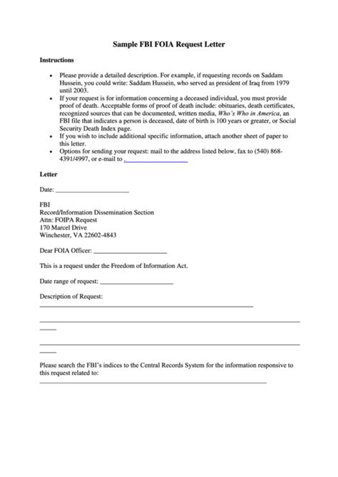 Foia Request Template by Sle Fbi Foia Request Letter Template Printable Pdf