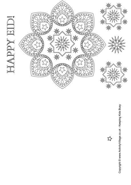 happy eid colouring card