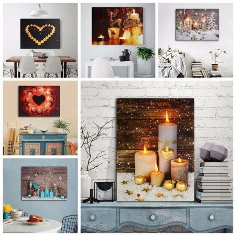 candle canvas painting led light  pictures art home wall