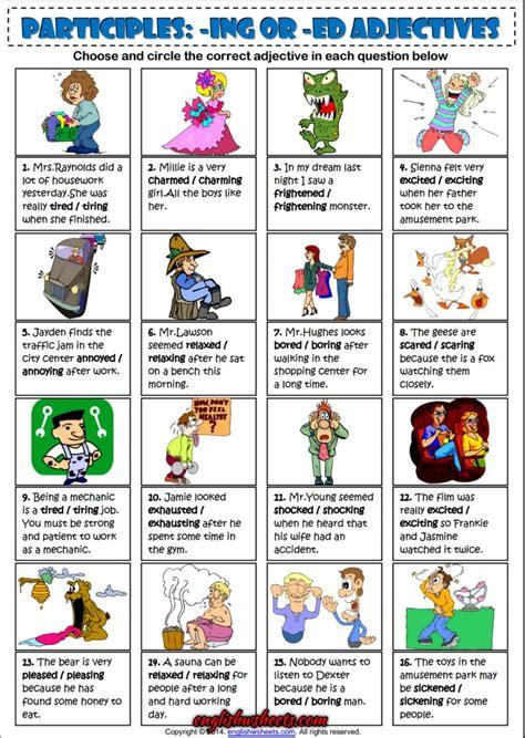 participles ing or ed adjectives esl exercise worksheet