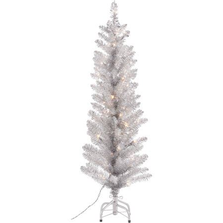 walnart 4 ft pre lit rose tinsel christmas tree time 4 foot pre lit tinsel silver tree 50 clear lights and metal stand walmart