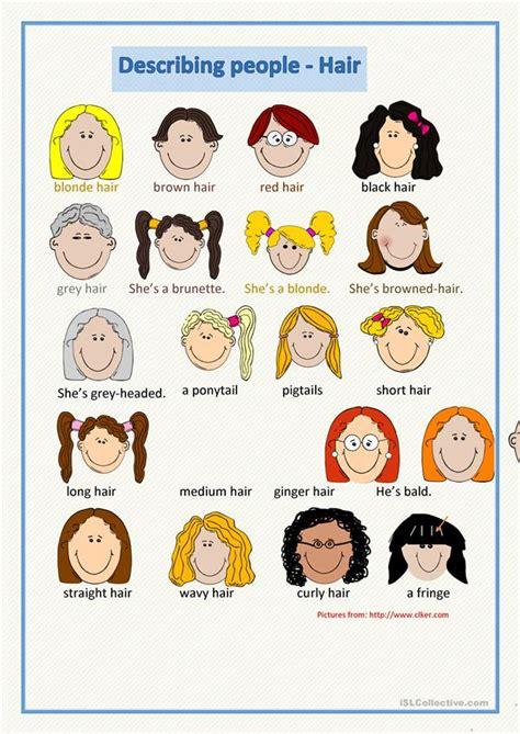describing people hair english esl worksheets