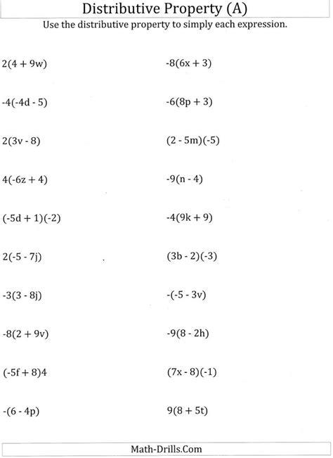 grade math algebra properties worksheet math