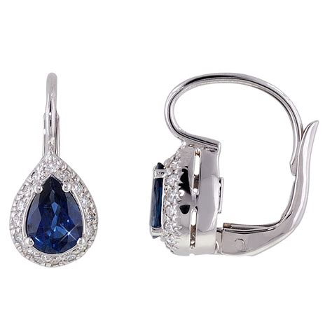 sapphire leverback earrings in 18kt white gold with