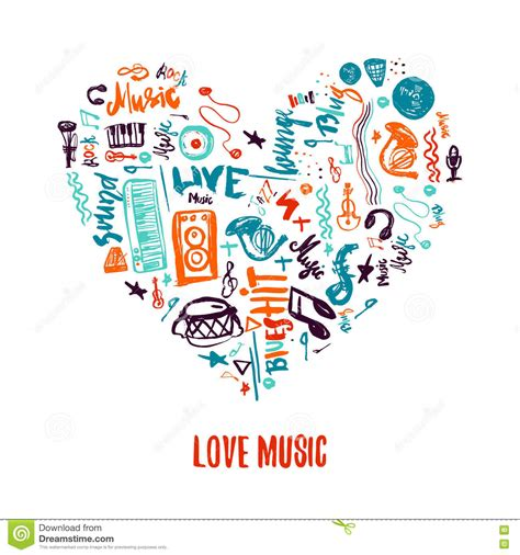 All of our colouring pages are free and printable. Love Music Colorful Vector Hand Drawn Doodles In Shape Of ...