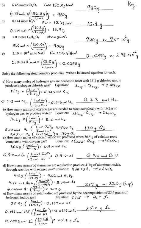 Chemistry 11 Answer Key