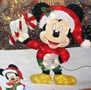 amazon com disney 36 inch lighted iridescent mickey mouse with candy cane christmas yard decor